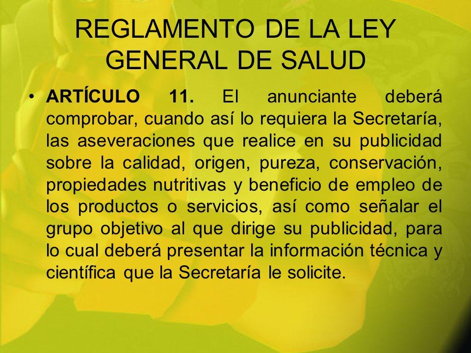 REGLAMENTO DE LA LEY GENERAL DE SALUD