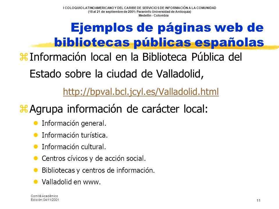 Ejemplos de páginas web de bibliotecas públicas españolas