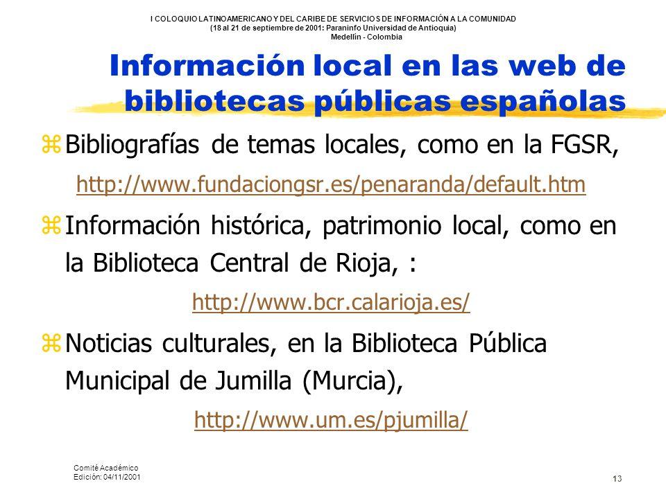 Información local en las web de bibliotecas públicas españolas