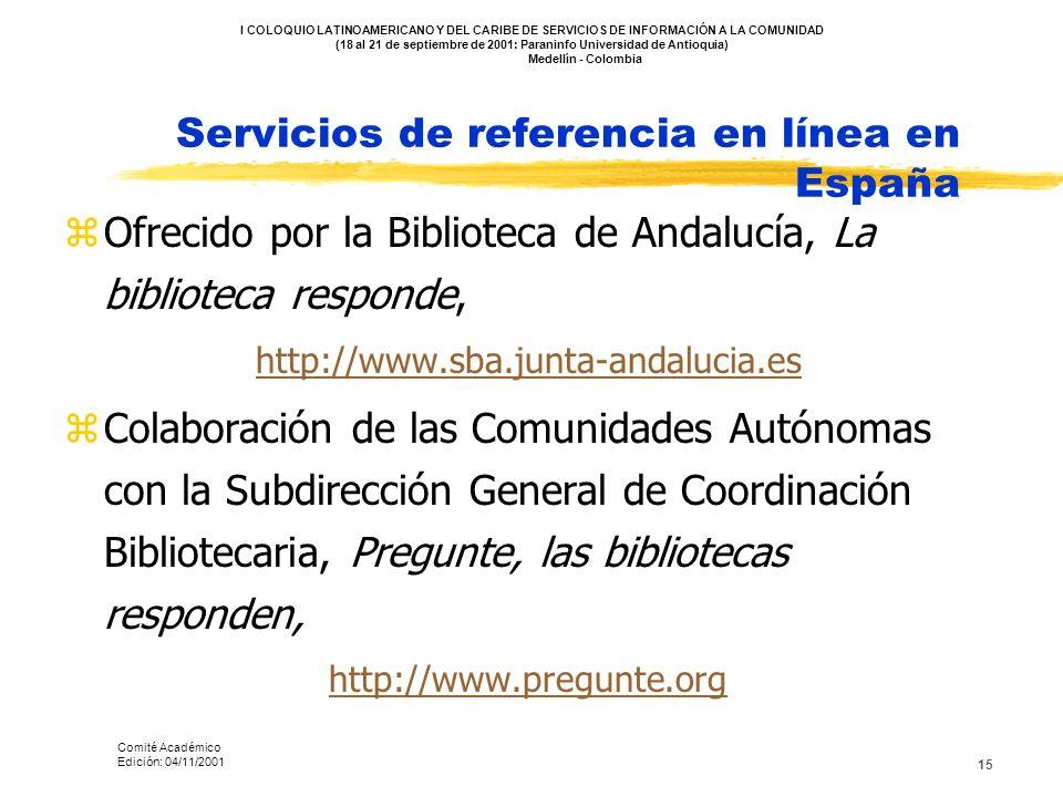 Servicios de referencia en línea en España
