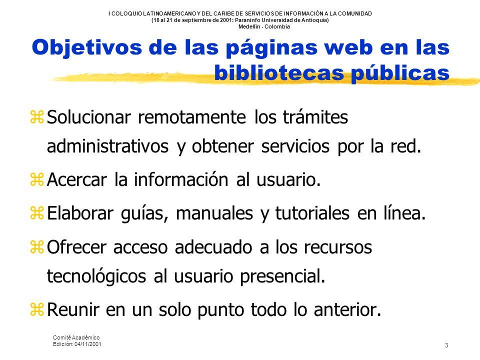 Objetivos de las páginas web en las bibliotecas públicas