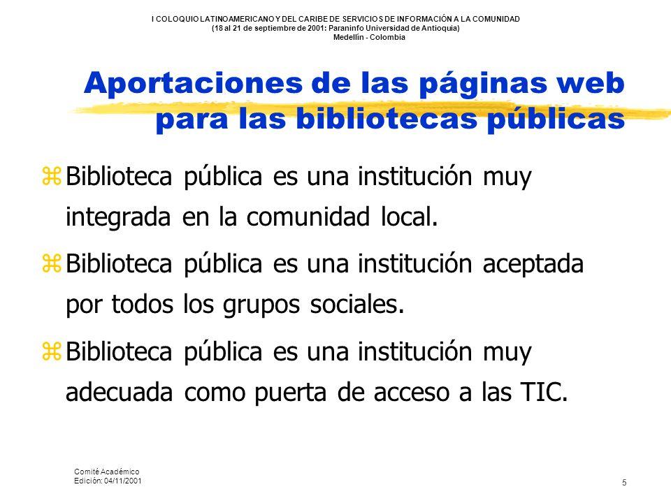 Aportaciones de las páginas web para las bibliotecas públicas