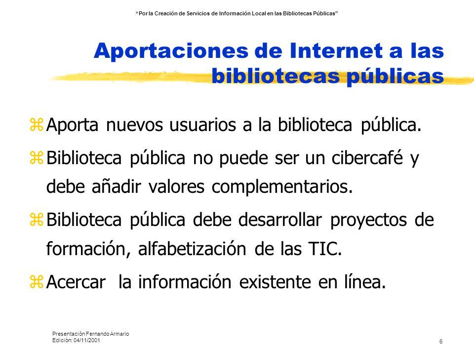 Aportaciones de Internet a las bibliotecas públicas
