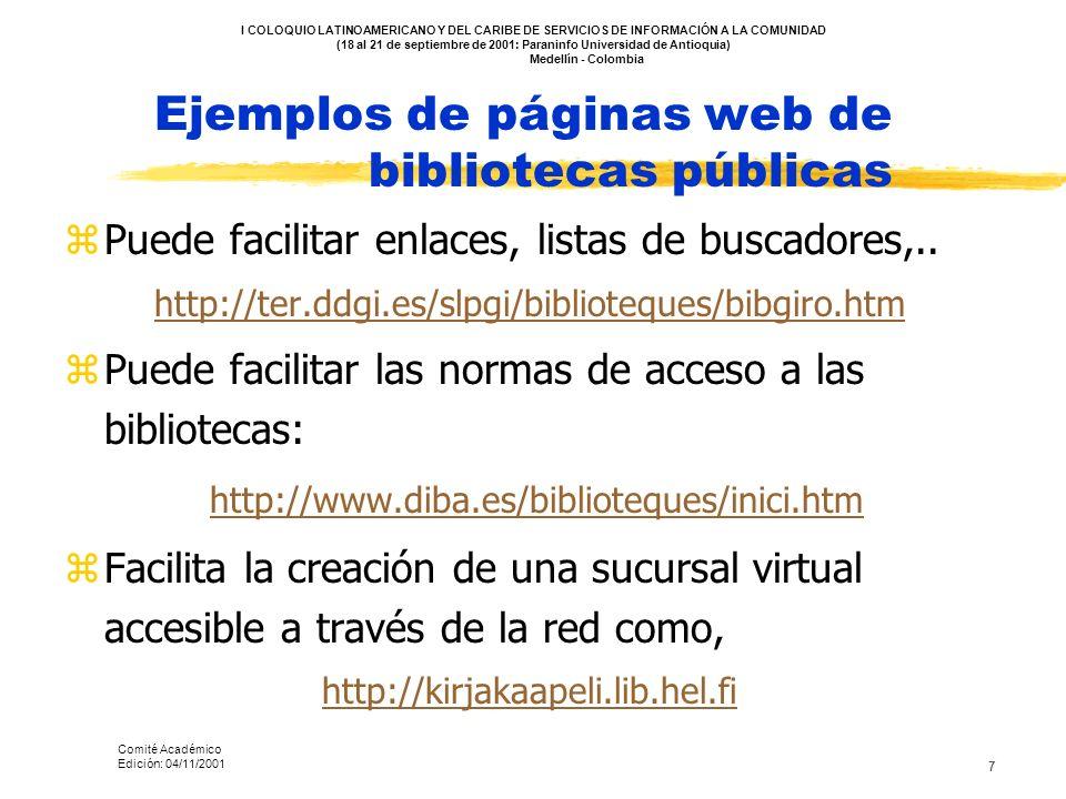 Ejemplos de páginas web de bibliotecas públicas