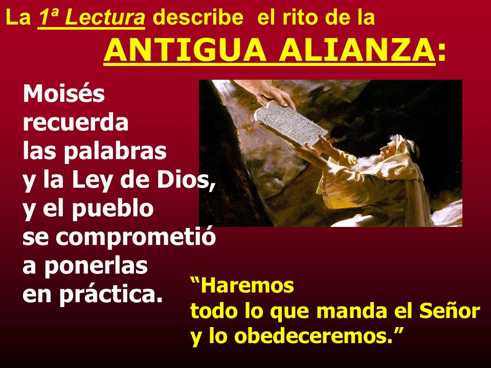 La 1ª Lectura describe el rito de la ANTIGUA ALIANZA: