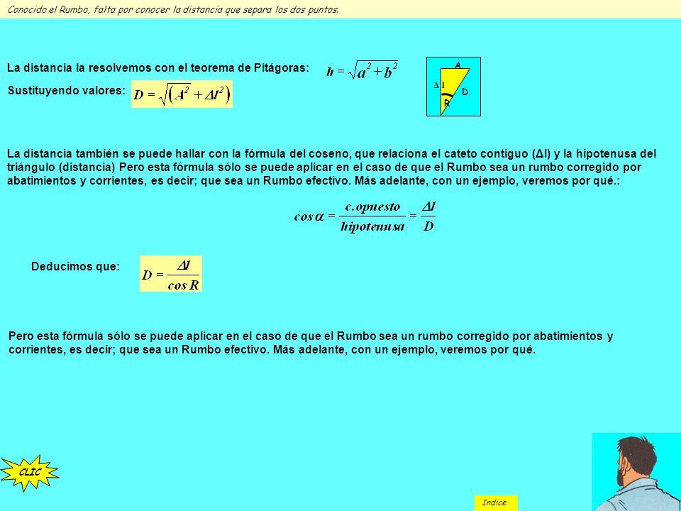La distancia la resolvemos con el teorema de Pitágoras: