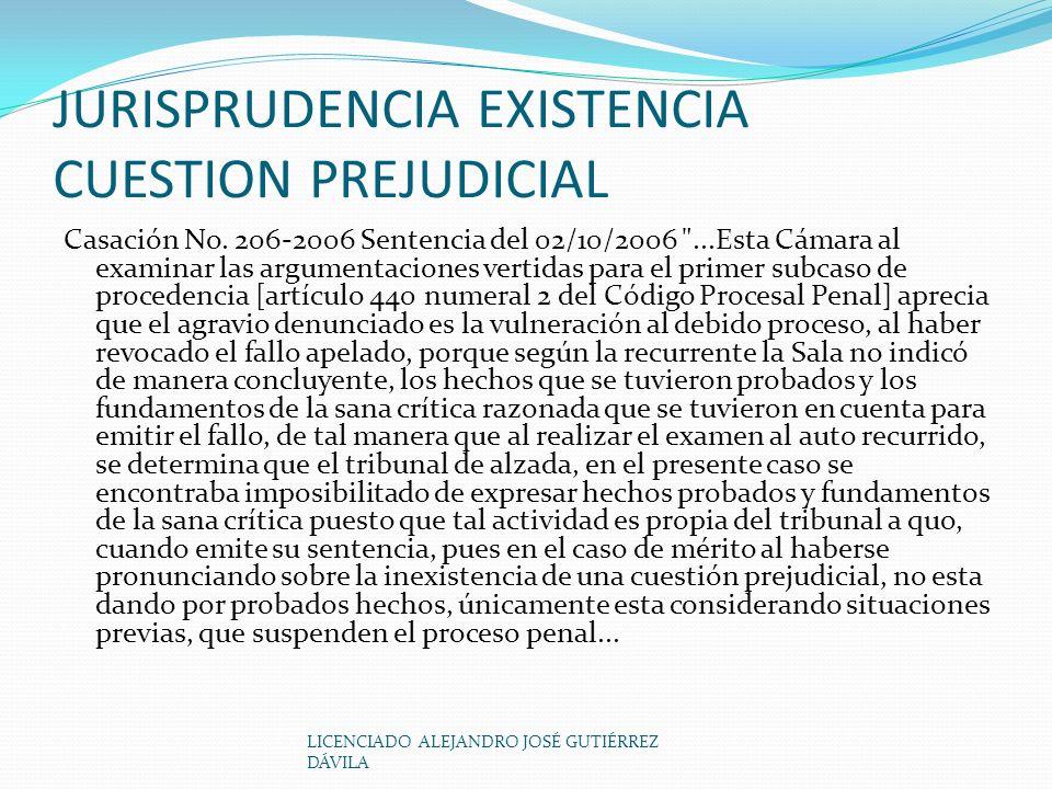 JURISPRUDENCIA EXISTENCIA CUESTION PREJUDICIAL