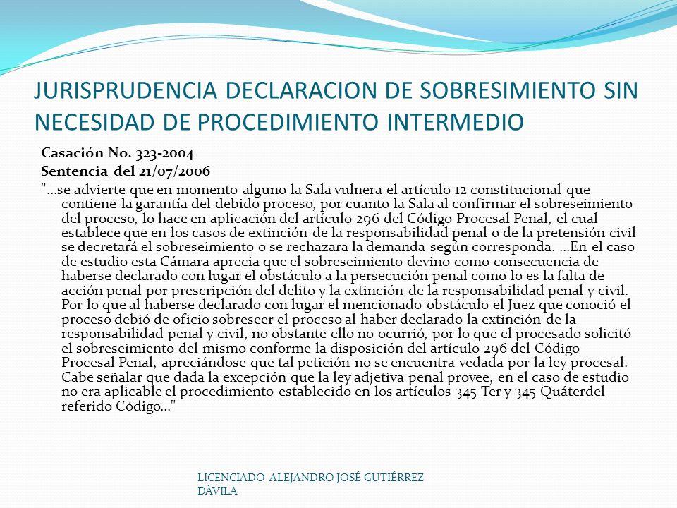 JURISPRUDENCIA DECLARACION DE SOBRESIMIENTO SIN NECESIDAD DE PROCEDIMIENTO INTERMEDIO