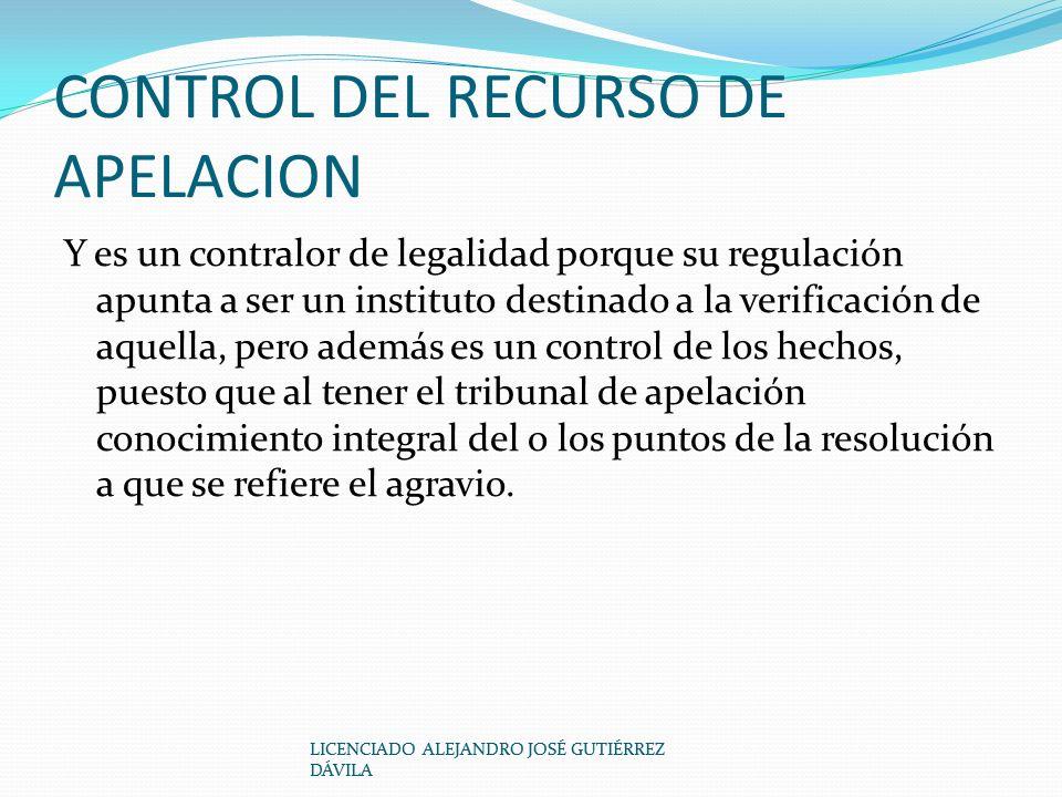CONTROL DEL RECURSO DE APELACION