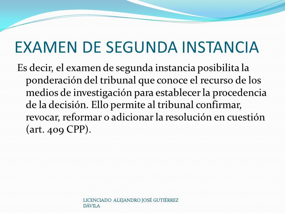 EXAMEN DE SEGUNDA INSTANCIA