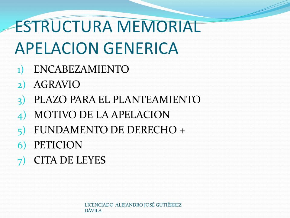 ESTRUCTURA MEMORIAL APELACION GENERICA