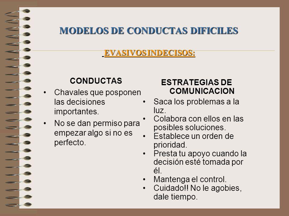MODELOS DE CONDUCTAS DIFICILES EVASIVOS INDECISOS: