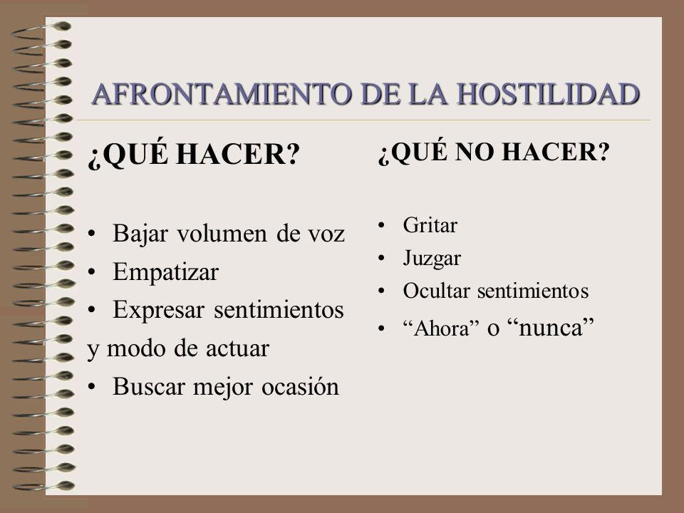AFRONTAMIENTO DE LA HOSTILIDAD