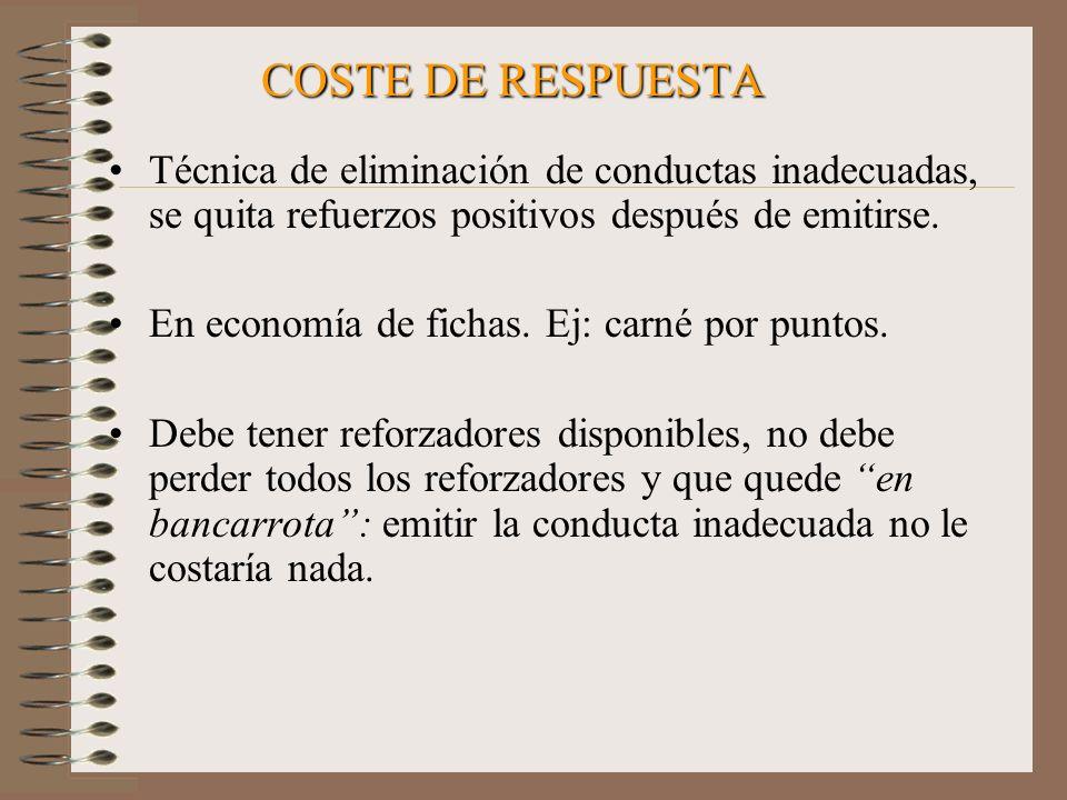 COSTE DE RESPUESTA Técnica de eliminación de conductas inadecuadas, se quita refuerzos positivos después de emitirse.