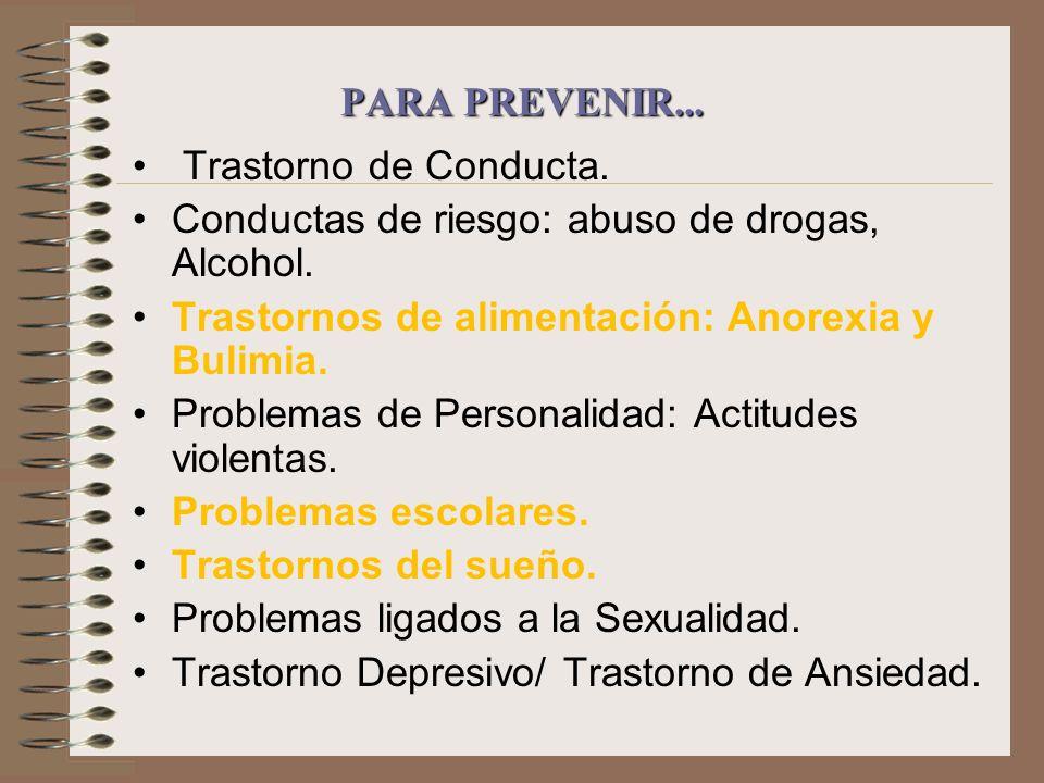 PARA PREVENIR... Trastorno de Conducta. Conductas de riesgo: abuso de drogas, Alcohol. Trastornos de alimentación: Anorexia y Bulimia.