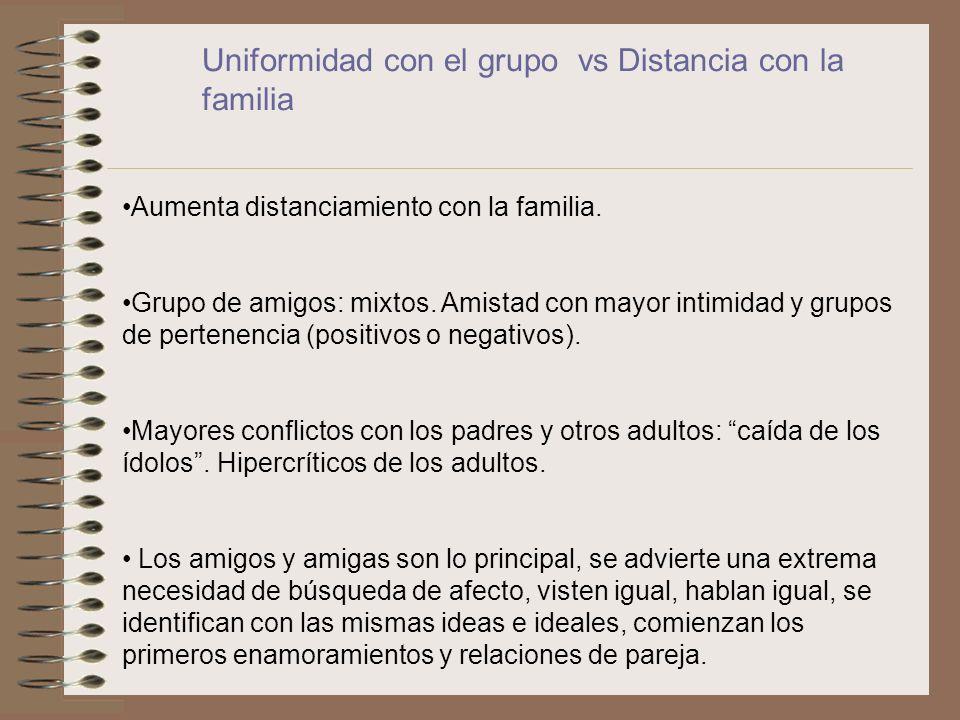Uniformidad con el grupo vs Distancia con la familia