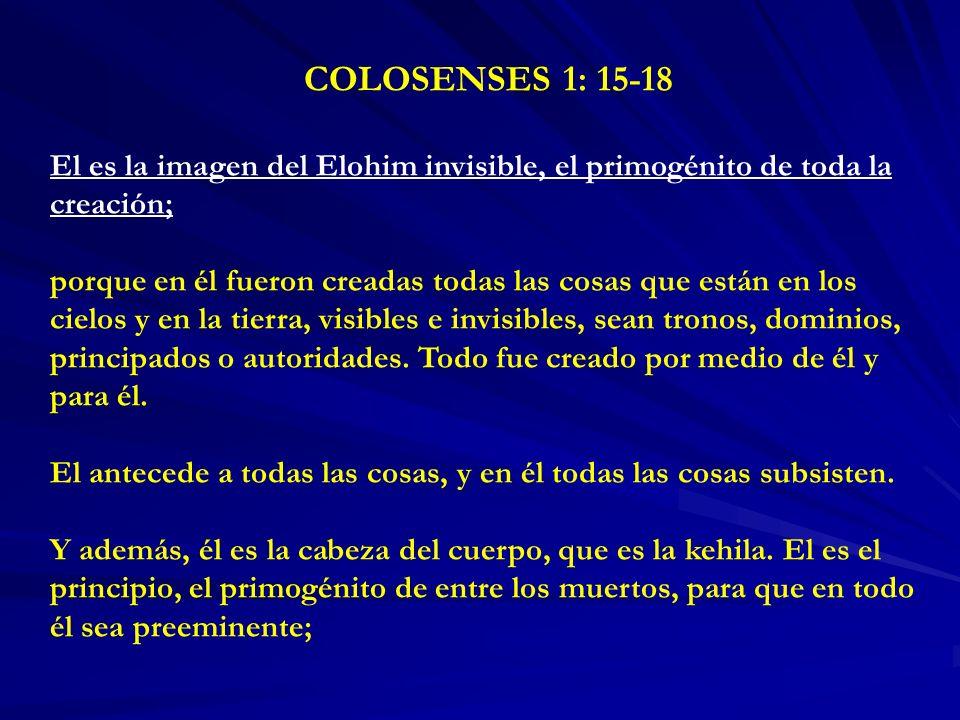 COLOSENSES 1: 15-18 El es la imagen del Elohim invisible, el primogénito de toda la creación;
