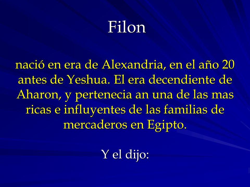 Filon nació en era de Alexandria, en el año 20 antes de Yeshua