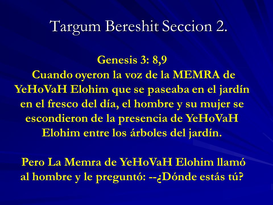 Targum Bereshit Seccion 2.