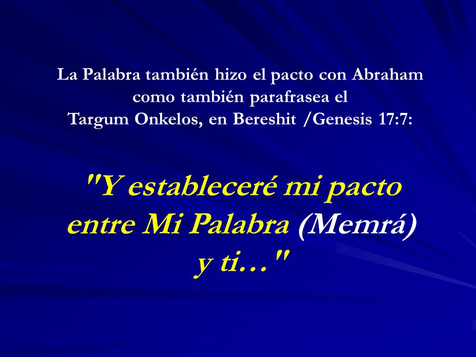Y estableceré mi pacto entre Mi Palabra (Memrá) y ti…