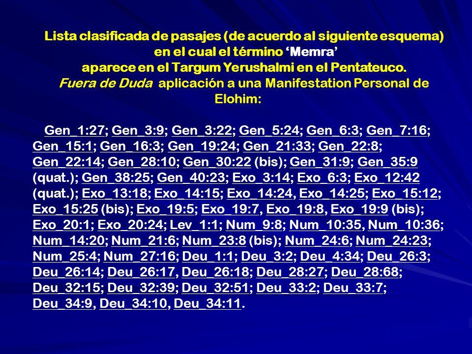 Lista clasificada de pasajes (de acuerdo al siguiente esquema)
