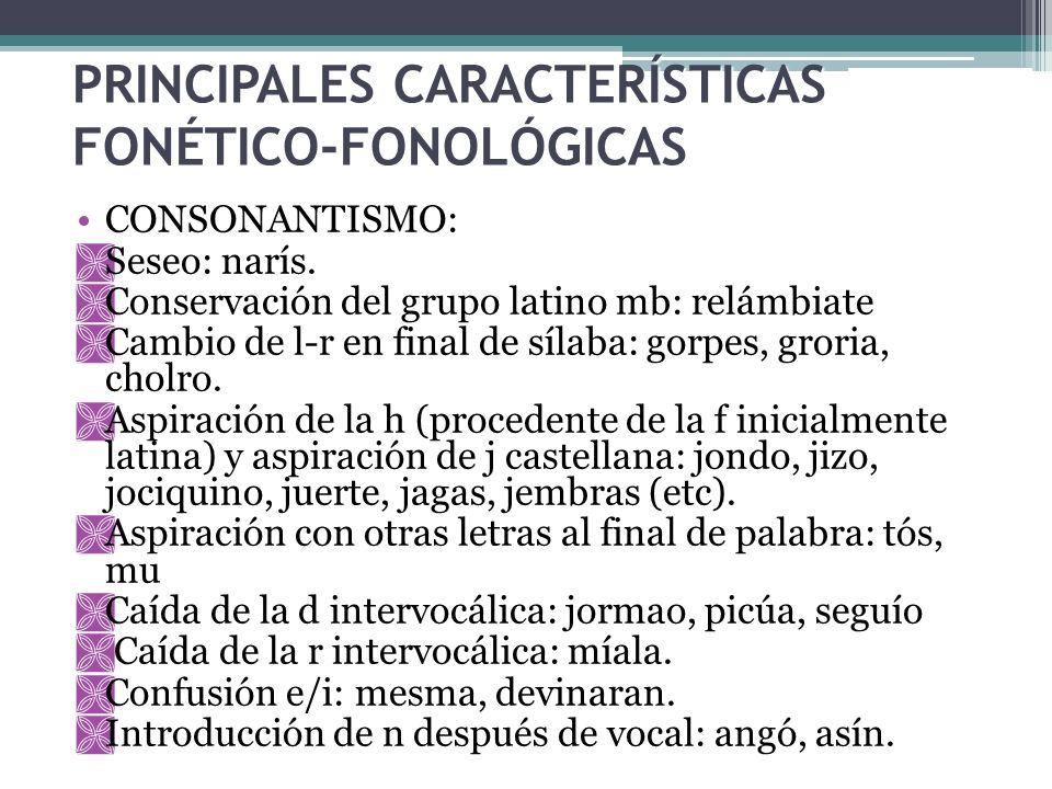 PRINCIPALES CARACTERÍSTICAS FONÉTICO-FONOLÓGICAS