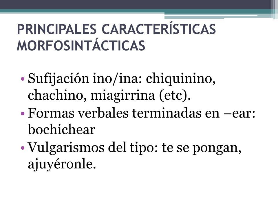 PRINCIPALES CARACTERÍSTICAS MORFOSINTÁCTICAS