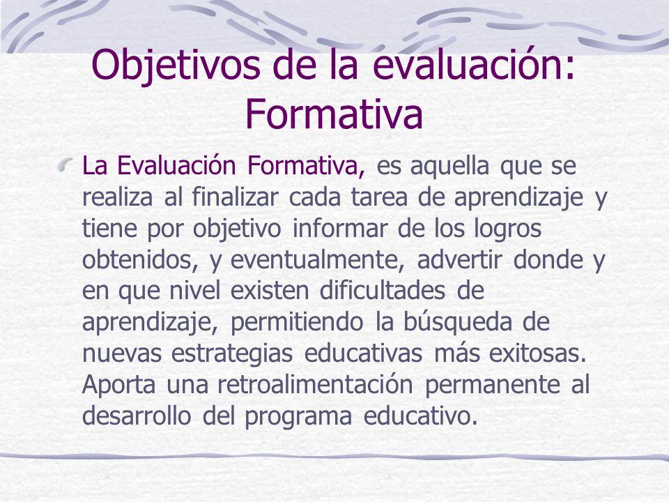 Objetivos de la evaluación: Formativa