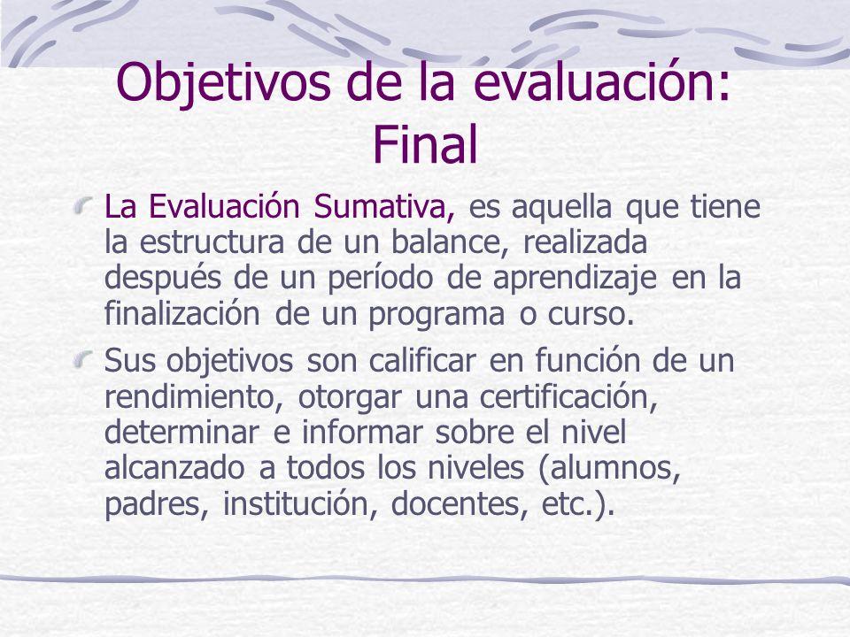 Objetivos de la evaluación: Final
