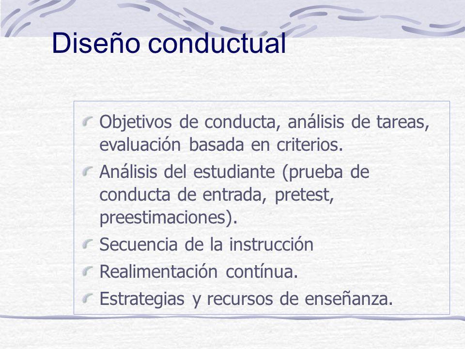 Diseño conductual Objetivos de conducta, análisis de tareas, evaluación basada en criterios.