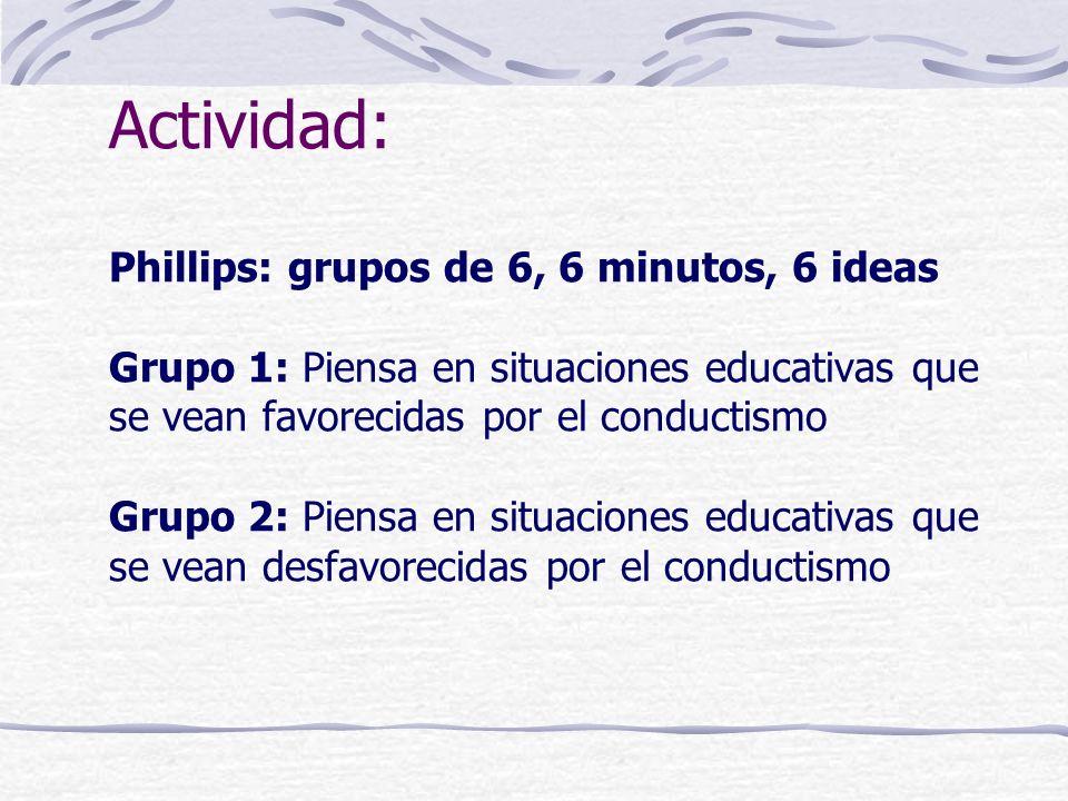 Actividad: Phillips: grupos de 6, 6 minutos, 6 ideas Grupo 1: Piensa en situaciones educativas que se vean favorecidas por el conductismo Grupo 2: Piensa en situaciones educativas que se vean desfavorecidas por el conductismo