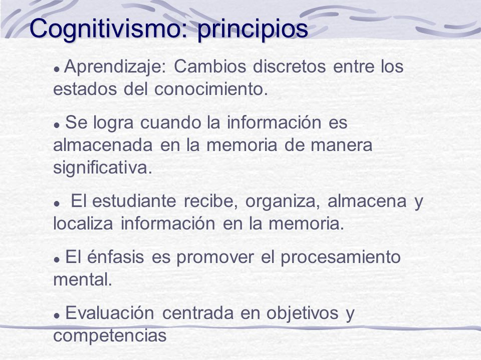 Cognitivismo: principios