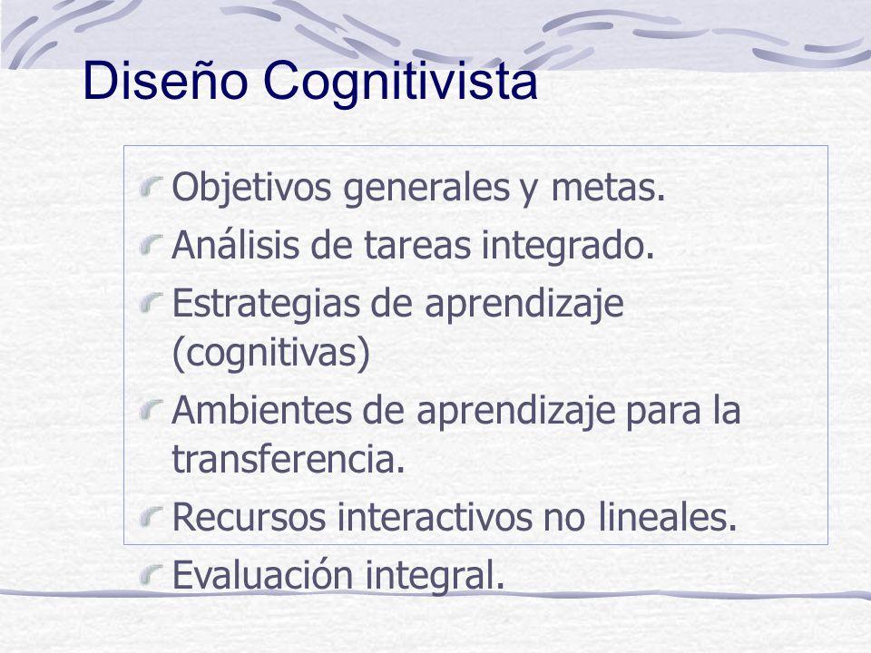 Diseño Cognitivista Objetivos generales y metas.