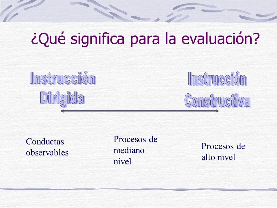 ¿Qué significa para la evaluación