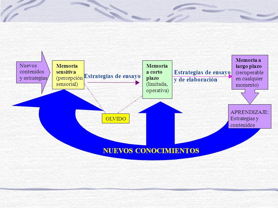 NUEVOS CONOCIMIENTOS Estrategias de ensayo y de elaboración Memoria
