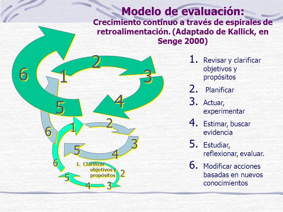 Modelo de evaluación: Crecimiento contínuo a través de espirales de retroalimentación. (Adaptado de Kallick, en Senge 2000)