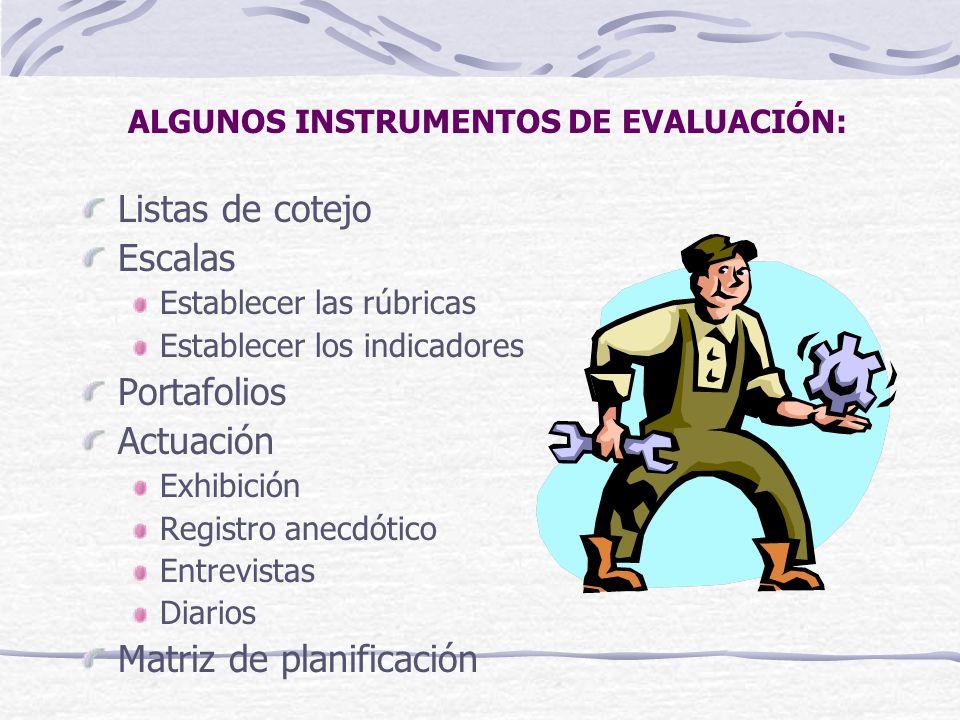 ALGUNOS INSTRUMENTOS DE EVALUACIÓN: