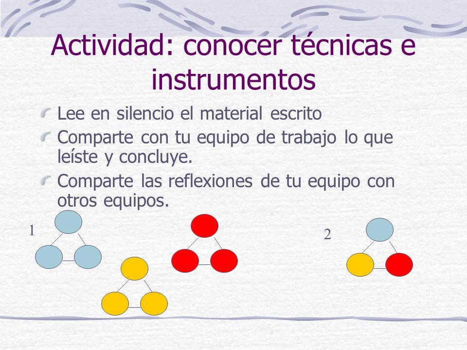 Actividad: conocer técnicas e instrumentos