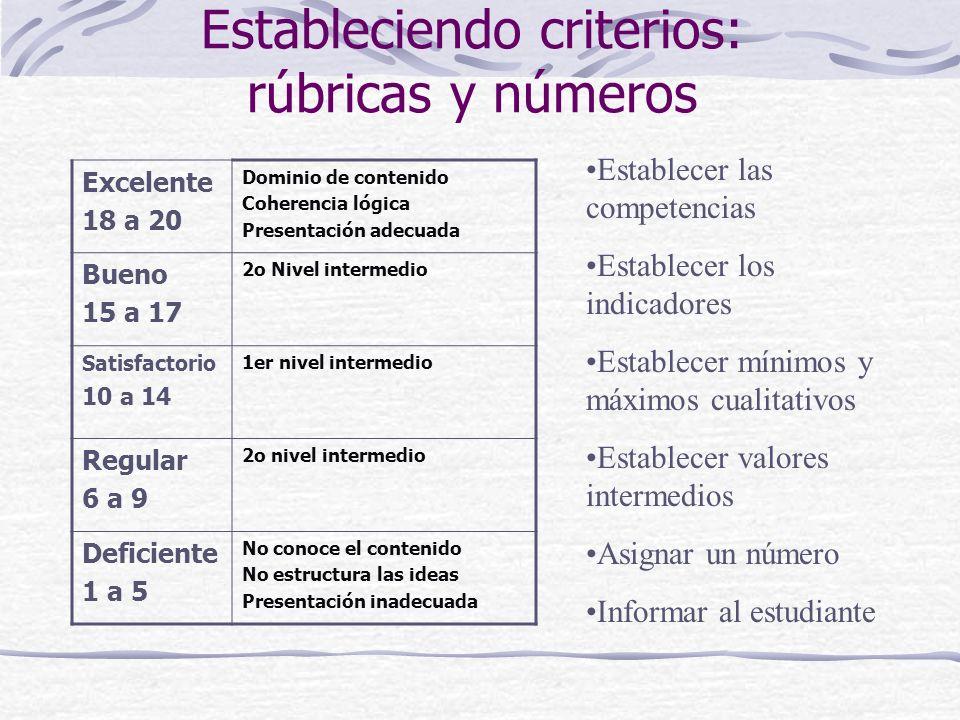 Estableciendo criterios: rúbricas y números