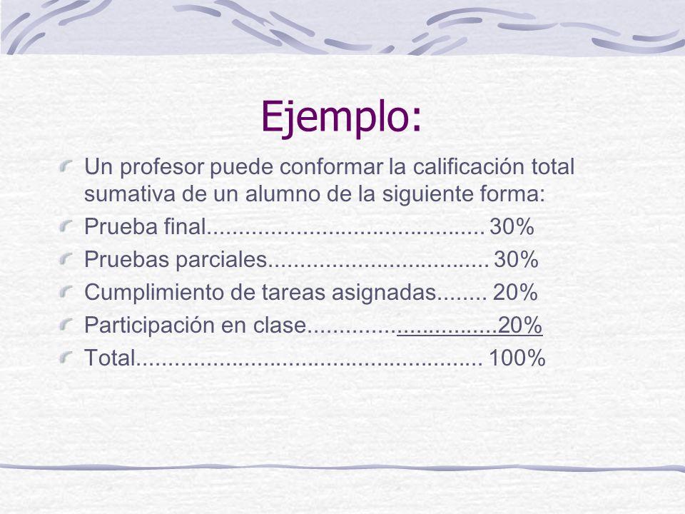 Ejemplo: Un profesor puede conformar la calificación total sumativa de un alumno de la siguiente forma: