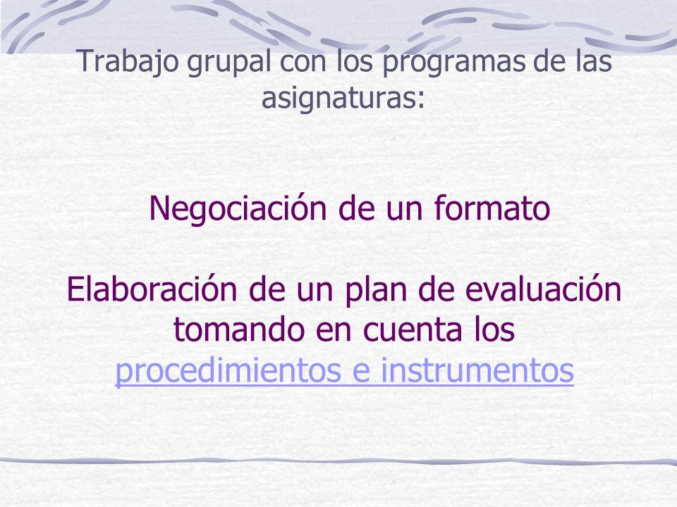 Trabajo grupal con los programas de las asignaturas: Negociación de un formato Elaboración de un plan de evaluación tomando en cuenta los procedimientos e instrumentos