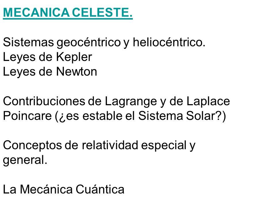 MECANICA CELESTE.Sistemas geocéntrico y heliocéntrico. Leyes de Kepler. Leyes de Newton. Contribuciones de Lagrange y de Laplace.