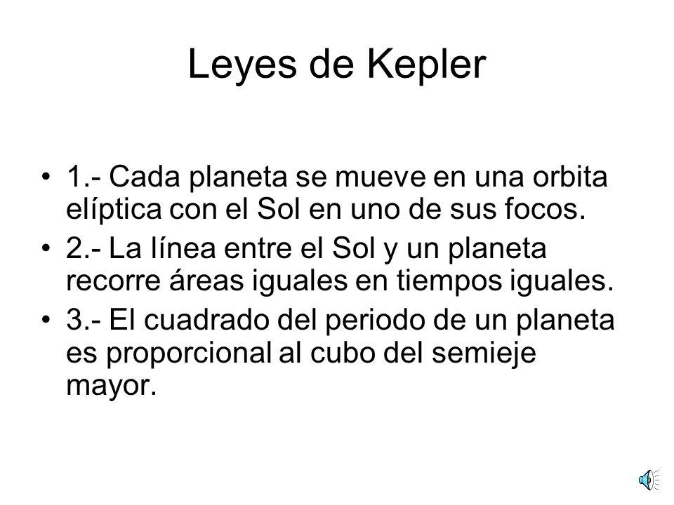 Leyes de Kepler 1.- Cada planeta se mueve en una orbita elíptica con el Sol en uno de sus focos.