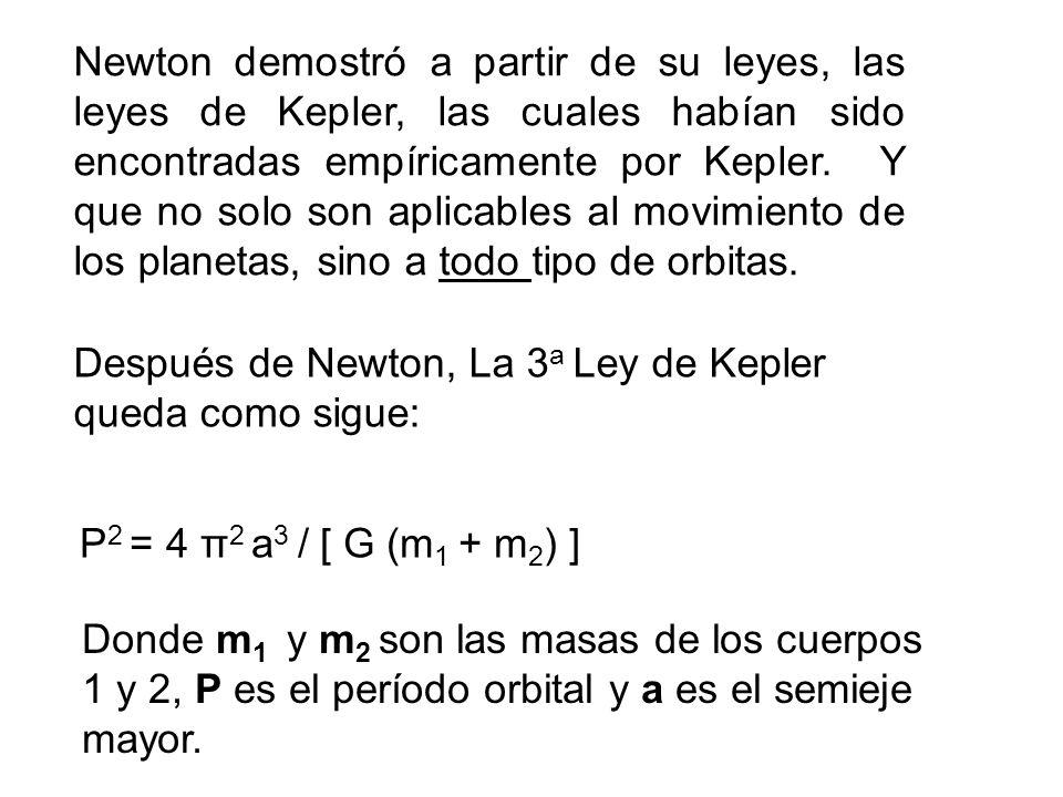 Newton demostró a partir de su leyes, las leyes de Kepler, las cuales habían sido encontradas empíricamente por Kepler. Y que no solo son aplicables al movimiento de los planetas, sino a todo tipo de orbitas.