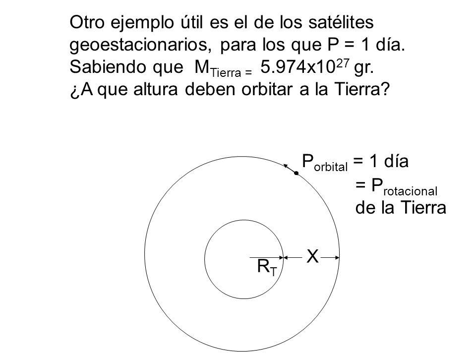 Otro ejemplo útil es el de los satélites geoestacionarios, para los que P = 1 día. Sabiendo que MTierra = 5.974x1027 gr.