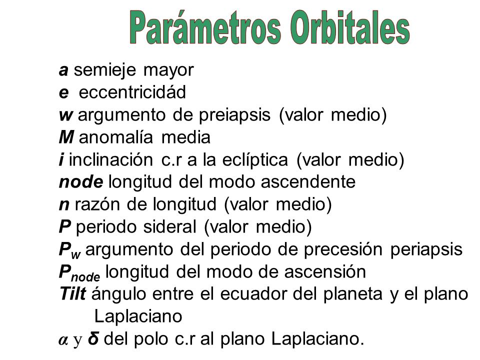 Parámetros Orbitales a semieje mayor e eccentricidád