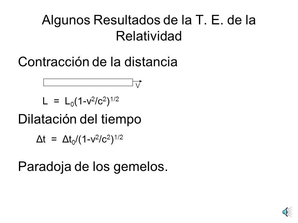 Algunos Resultados de la T. E. de la Relatividad