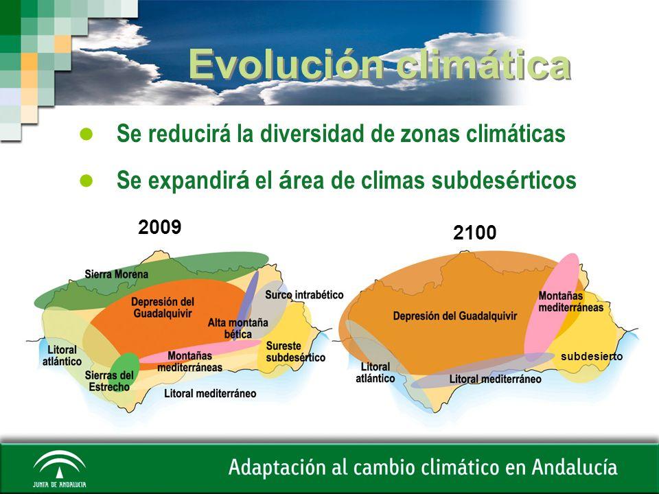 Evolución climática Se reducirá la diversidad de zonas climáticas