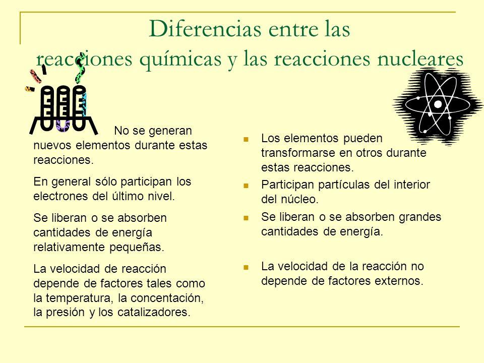 Diferencias entre las reacciones químicas y las reacciones nucleares