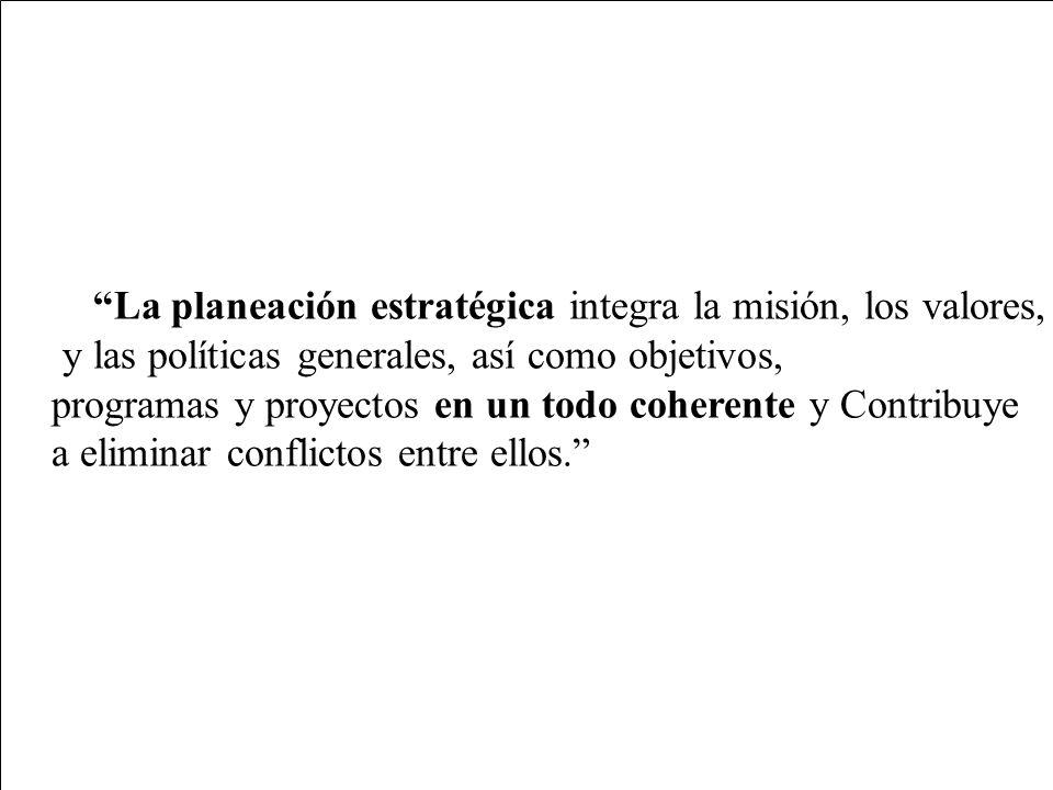 La planeación estratégica integra la misión, los valores,